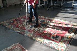 Vorwäsche eines Teppichs